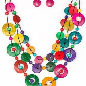 Multi color wooden necklace with earrings